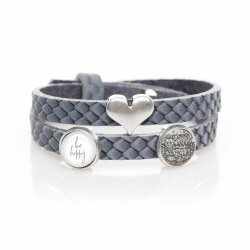 Lederarmband grau reptil MIT Schiebeperlen be happy